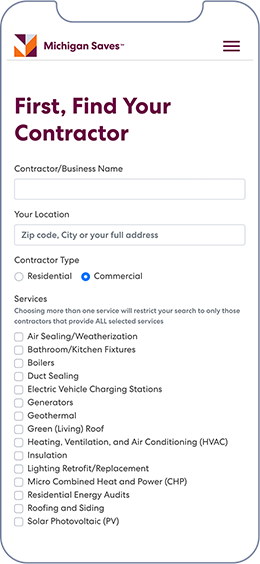 Phone screenshot of the Find Your Contractor form